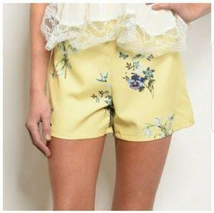 Pants - Yellow Floral Shorts